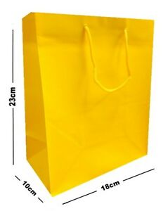 Details About 5 X Yellow Matt Laminated Party Gift Bags Luxury Birthday Present Medium Bag
