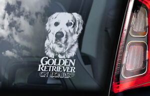 Golden-Retriever-On-Board-Auto-Finestrino-Adesivo-Pistola-Guida-Cane-Segno