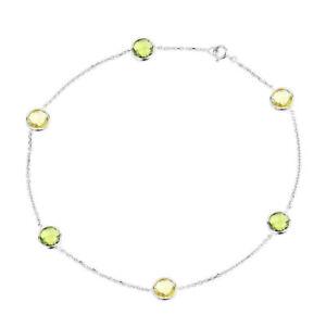 Fine Anklets Fine Jewelry Professional Sale 14k Or Blanc Cheville Avec Péridot Et Citron Topaze Pierres Précieuses 22.9cm