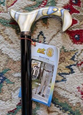 NEW LADIES GERMAN BURGUNDY RUBY PEARL DERBY HANDLE SLIM SHAFT WALKING CANE STICK