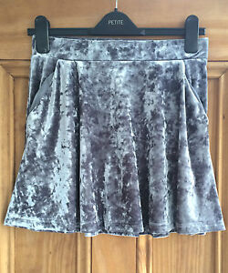 ac1aa6b212 Topshop Petite New Grey Crushed Velvet Mini Party Skirt Uk Size 4 6 ...