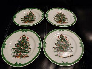 VTG-GEORGES-BRIARD-YULE-TIDE-4-BREAD-DESSERT-PLATES-CHRISTMAS-TREE-7-1-2-034