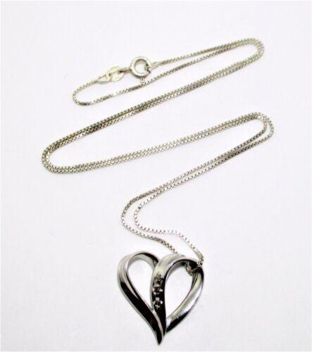 "925 S Silver Diamond Heart and Chain Inscription """