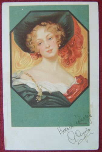 ARTIST SIGNED POSTCARD SECESSION LADY 1900