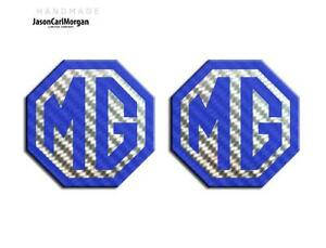 MG-TF-LE500-70mm-Badge-Insert-Set-Front-amp-Rear-MG-Logo-Blue-Carbon-Silver