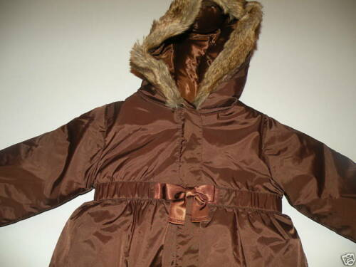 GYMBOREE WINTER BALLERINA BROWN BOW HOODED PUFFER JACKET 6 12 2T 3T 4T 5T NWT