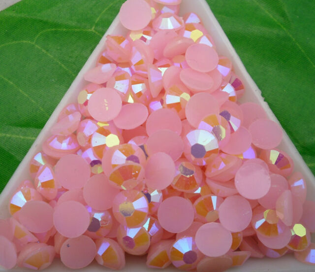 Jelly Pink AB Crystal Multiple faceted resin Flat Back Rhinestones nail use glue