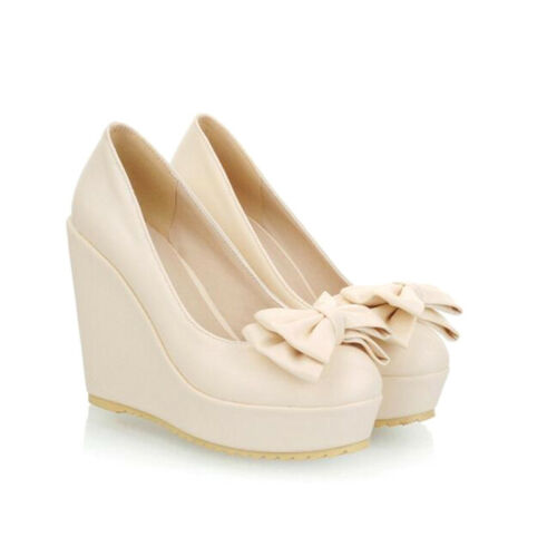 Women/'s Sweet Round Toe bowknot Pumps Wedge High Heel Platform Party Shoes Size