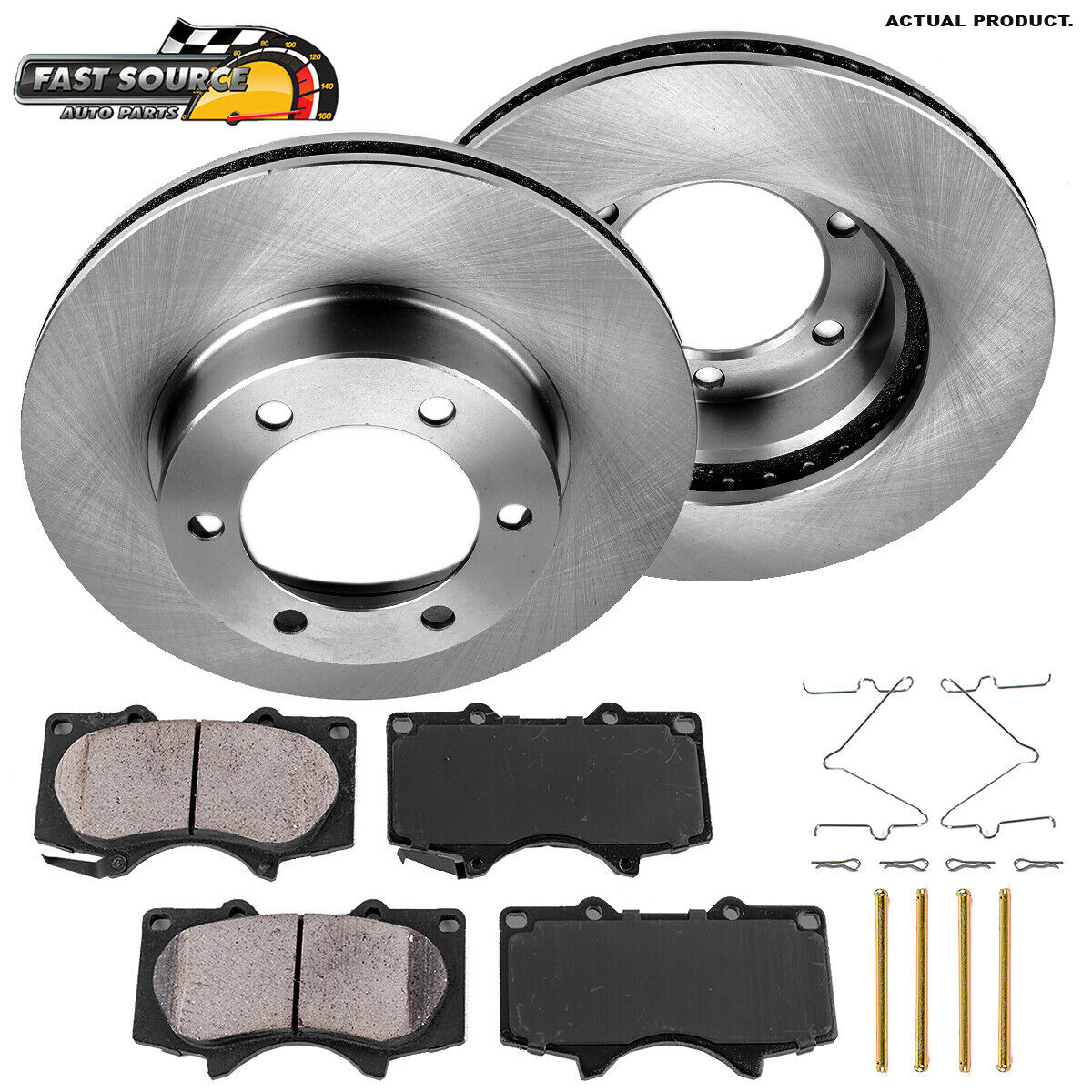 6lug 2 Brake Rotors High-End Front Kit 4 Ceramic Pads For: Sequoia Tundra