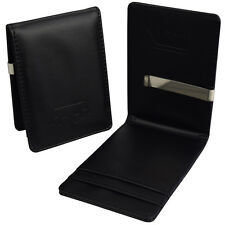 Mens Magic Slim Wallet - Black Faux Leather - Money Clip Cash Credit Holder Gift