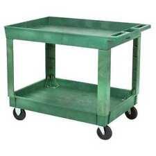 Zoro Select 5utj3 Polypropylene Utility Cart With Deep Lipped Plastic Shelves