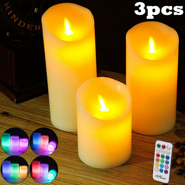 3Pcs Flameless LED Candles Battery Night Lights Color Changing w/ Remote Control