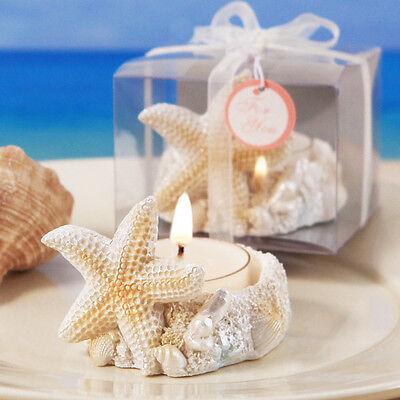Summer Beach Starfish Seashell Destination Bridal Wedding Candle Favor Gift