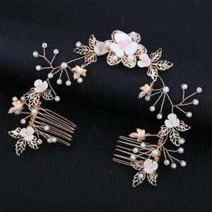 Women-Bride-Pearl-Combs-Clip-Hair-Stick-Wedding-Accessories-Leaf-Flower-Combs