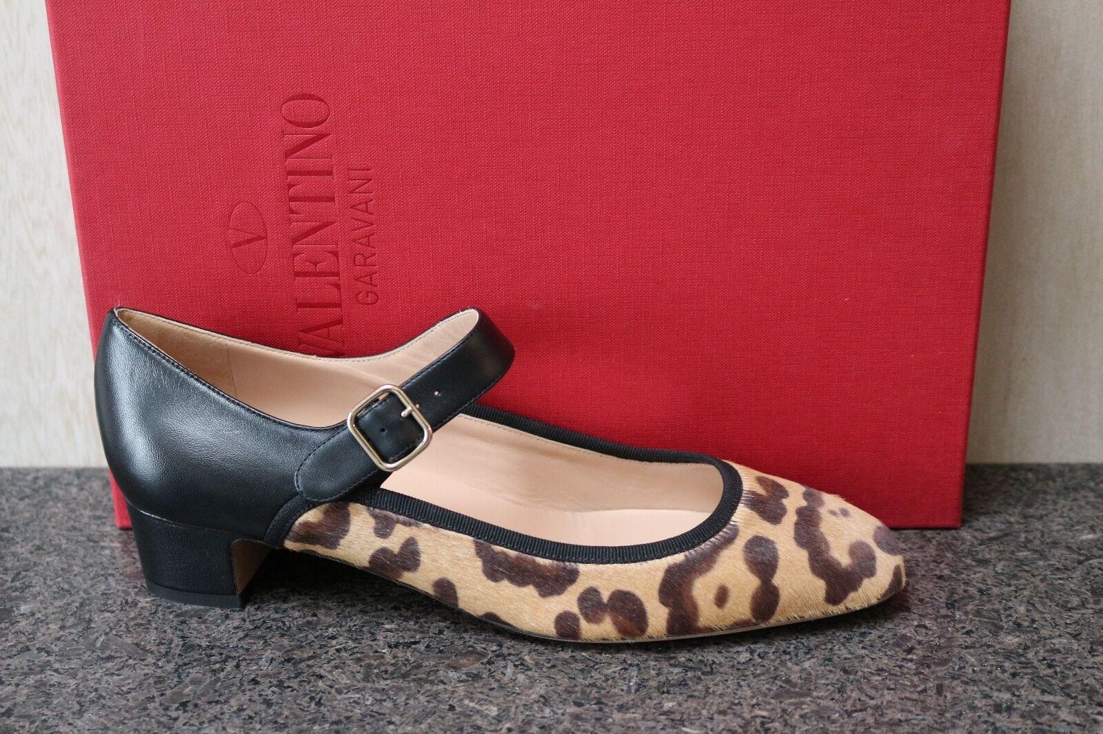 NIB VALENTINO GARAVANI LEOPARD PRINT PONY HAIR LEATHER MARY JANE PUMP chaussures 37.5
