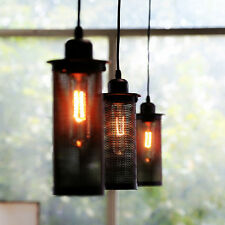 Edison Vintage Mesh Cylinder Design Pendant Light Wired Hanging Lampshade NEW