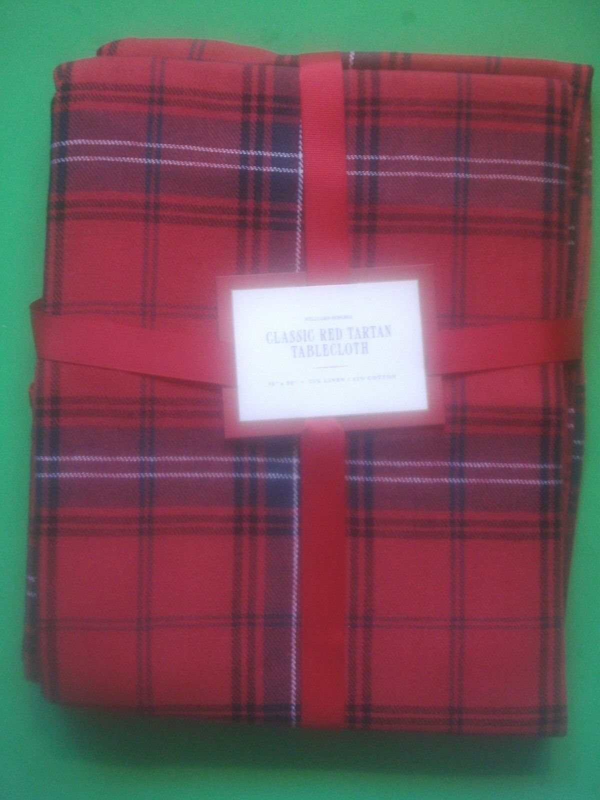 WILLIAMS SONOMA vacances Tartan Rouge plaid nappe 70 x 90 NEUF SOLD OUT