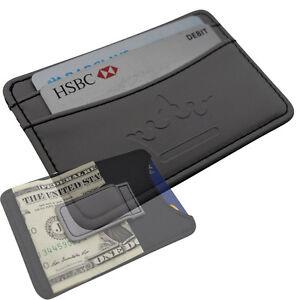 Mens money clip wallet business card holder black faux leather image is loading mens money clip wallet business card holder black colourmoves