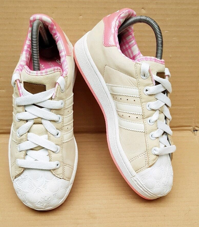 RARE ADIDAS SUPERSTAR KAWAII TRAINERS BEIGE PINK & WHITE PATTERN TOE SIZE 5 UK