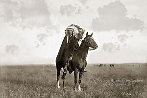 Details about Restored Reprint Vintage Native American Indian PHOTO PRAIRIE  CHIEF Dakota Sioux