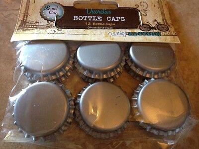 """Bottle Cap Inc. Silver Bottle Caps! 1"""" 12pcs"""