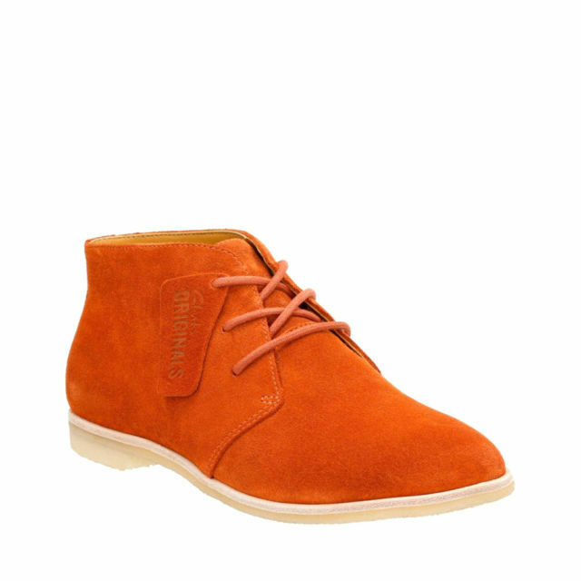 Clarks Desert Boots Rust Vintage Suede Ladies ankle boots size 4 37 D New
