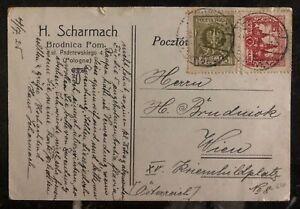 1925-Brodnica-Poland-Postcard-Cover-To-Vienna-Austria