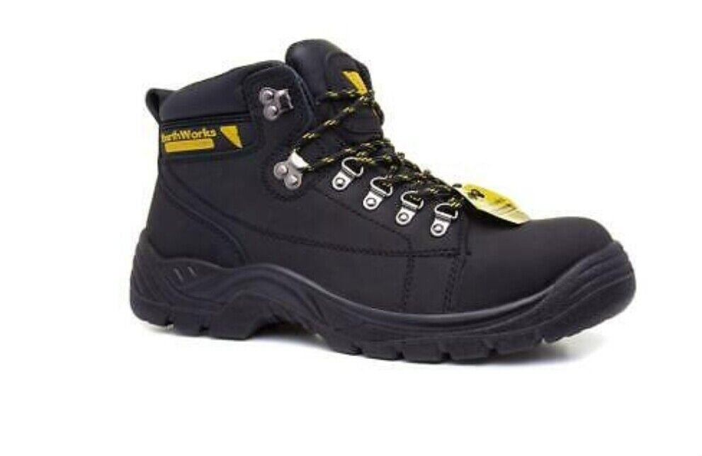 Earth Works Mens Coated Leather Lace Up Black Safety Boot size 6/40