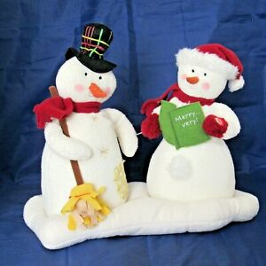Animated-Snowman-Musical-Plush-Hallmark-1st-Jingle-Pals-Caroling-Couple-VIDEO
