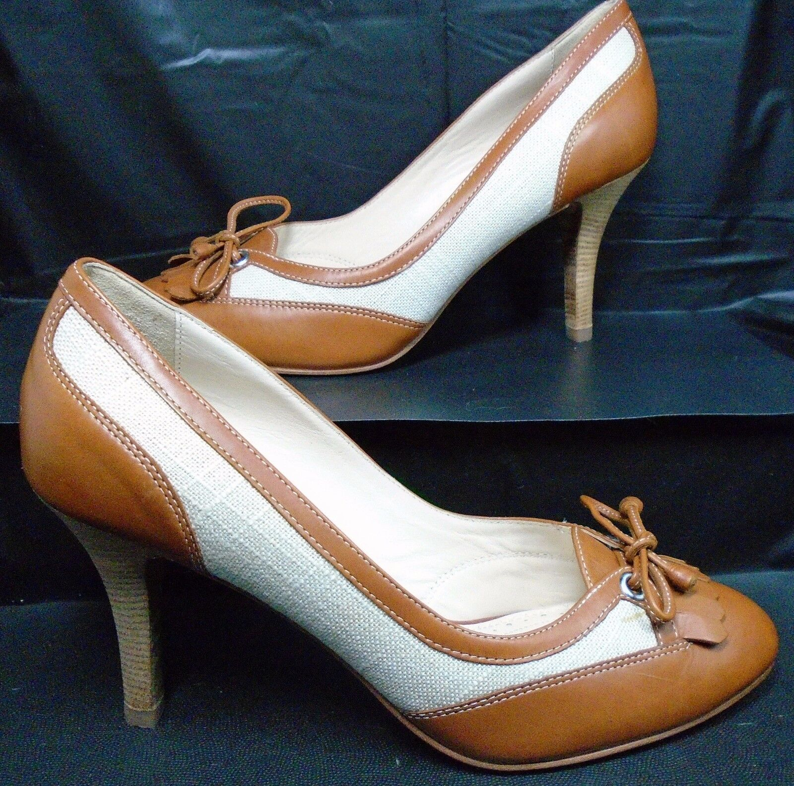 BROOKS BROTHERS Career Braun Leder Weiß Fabric Pumps Heels US 7 Minimal Wear