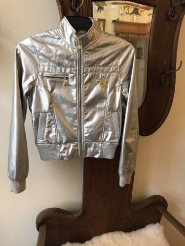Coat bomber size silver Metallic Dereon Womens Medium Jacket lined qPR1wHx