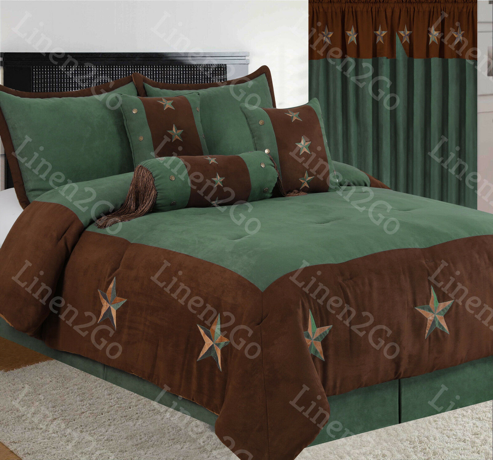 Rustic braun+Turquoise Embroidery Texas Star Western Luxury Comforter Suede 7Pc