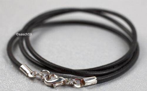 Lederkette nach MASS 2mm Lederband Lederhalskette Lederhalsband schwarz 95cm DA