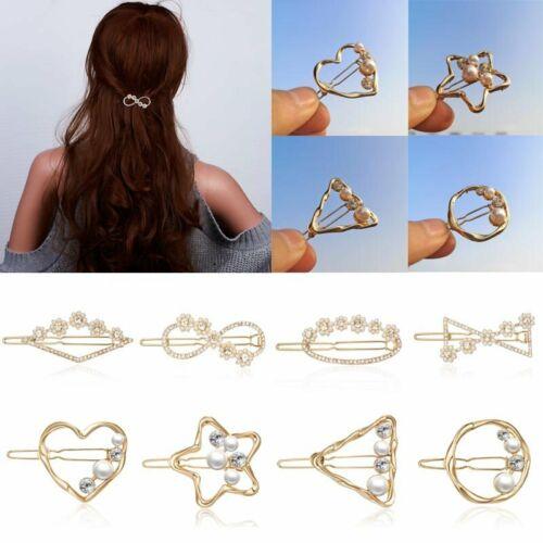 Women Crystal Pearl Hair Clip Hairband Comb Bobby Pin Barrette Hairpin Headdress