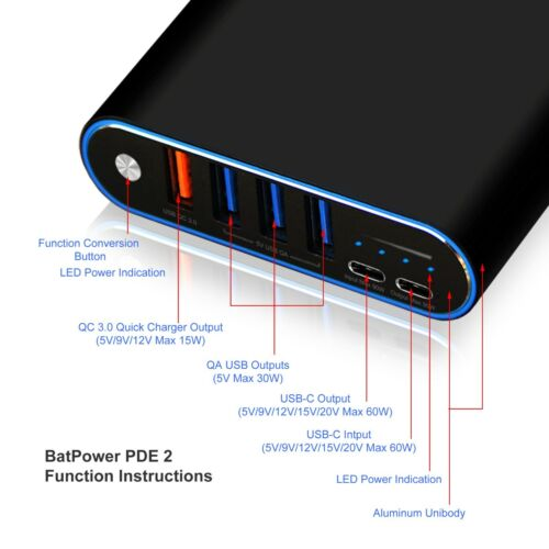 BatPower USB C Portable Charger External Battery Power Bank for New Macbook Pro