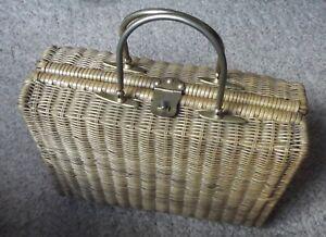 Vintage Rattan Suitcase Briefcase Picnic Basket Wicker Handbag Storage Handles