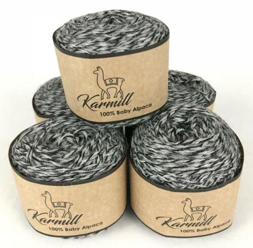 Alpaca Wool Skeins 100/% Baby Alpaca Yarn Lot of 5 Grey Mulinex Color 2L577