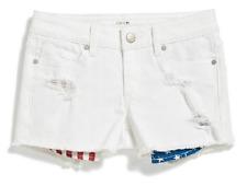 Joe's Girl's Flag Pocket Denim Cutoff Shorts, Libe White, Size 6, MSRP $39