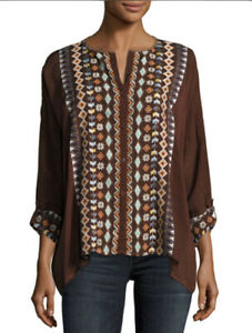 Johnny-Was-Cenote-Top-Brown-Embroidered-Boho-Blouse-Women-s-Plus-Size-1X