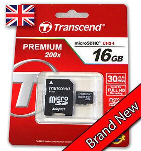 Transcend-16GB-Premium-Classe-10-MICRO-SD-CARD-CON-ADATTATORE-SDHC-TF-FLASH-MEMORY