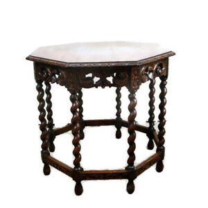 Gorgeous-hand-Carved-Wooden-Table-Console-Barley-Twist-Coffee-Side-Table-HTF