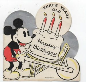 Details About 1930s Walt Disney Enterprises Die Cut Mickey Mouse Birthday Card For 3 Year Old