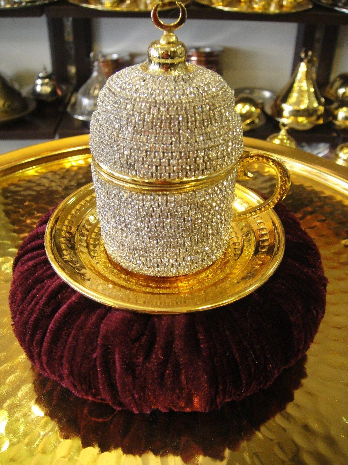Handmade Copper Turkish Coffee Espresso Cup Saucer Swarovski type Crystal Coated