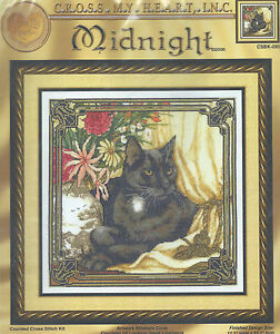 Midnight~counted cross stitch kit~Black Cats Animals Sherrie Stepp-Aweau RARE