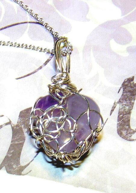 EXQUISITE HAND-CRAFTED SILVER-WIRE-WRAPPED AMETHYST HEART PENDANT  1-3/8 INCHES