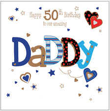 Item 2 Personalised 50th Birthday Card Daddy Dad Husband Boyfriend Any Age Name Message