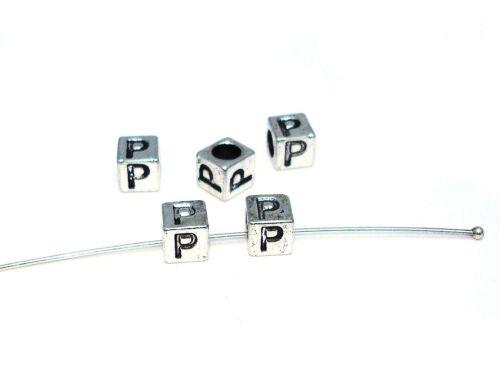 Metallperlen Buchstabe P 7x7mm 2 Stück #U167