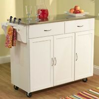 Kitchen Carts And Islands White Stainless Steel Top Island Cart Portable Cabinet