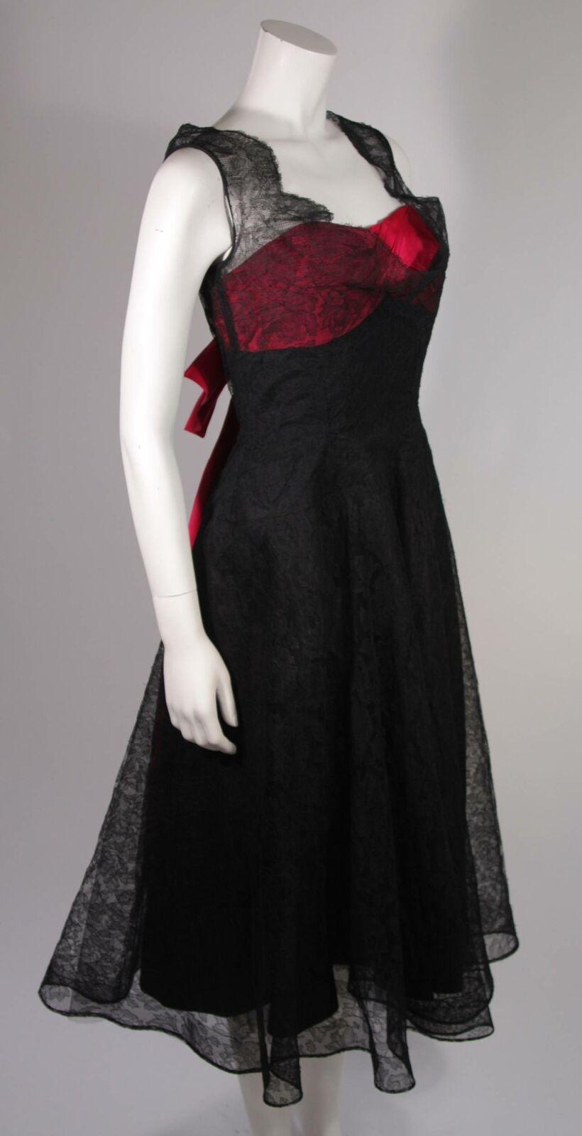 CEIL CHAPMAN Black Lace Cocktail Dress with Large… - image 5
