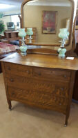 Antique Tiger Oak Dresser and Mirror Winnipeg Manitoba Preview
